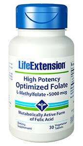 High Potency Optimized Folate L-Methylfolate | Life Extension | 5000 mg, life extension High Potency Optimized Folate L-Methylfolate