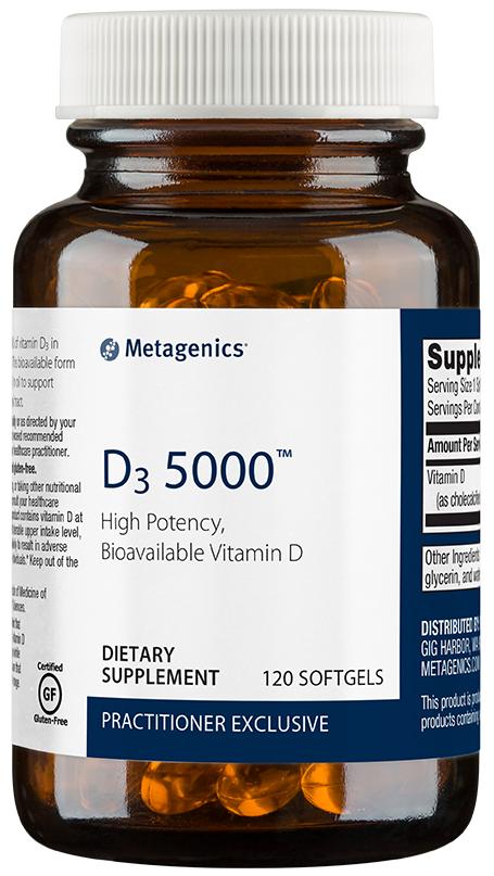 D3 5000 | Metagenics | Bone, Cardiovascular, Immune, 5000 IU, Vitamin D3