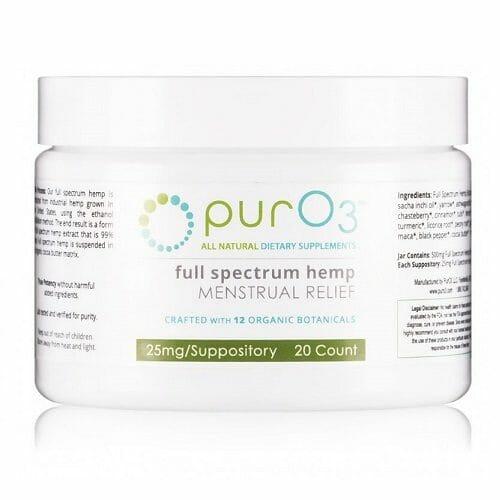 Full Spectrum Menstrual Relief Suppositories   PurO3   CBD - Hemp