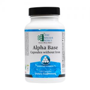 Alpha Base Capsules | Ortho Molecular Products, without iron, multivitamin, ortho molecular products alpha base capsules, micronutrient, micronutrients