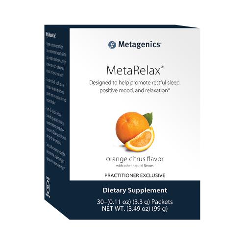 MetaRelax | Metagenics | Stress Management Support, 30 Packets, orange citrus flavor. relax, mood, anxiety, magnesium, folate, vitamin B12, vitamin B6, taurine