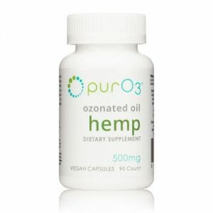 PurO3 Ozonated Hemp Oil Capsules, cbd, ozone, anti-inflammatory, stress, anxiety, 90 capsules, 500 mg