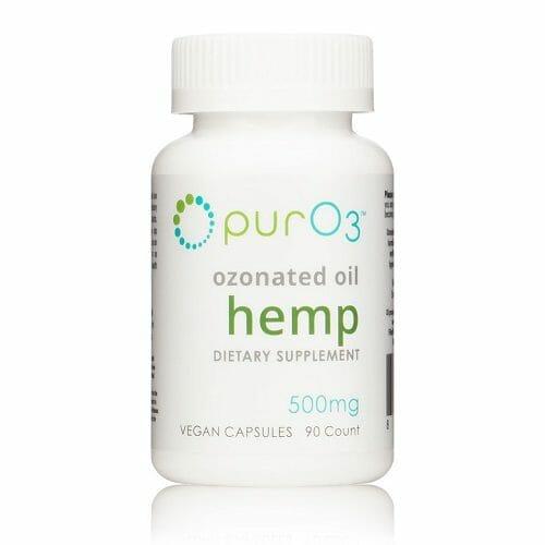 PurO3 Ozonated Hemp Oil Capsules, cbd, ozone, anti-inflammatory, stress, anxiety, 90 capsules, 500 mg