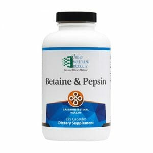 Ortho Molecular Products Betaine & Pepsin, 225 Capsules