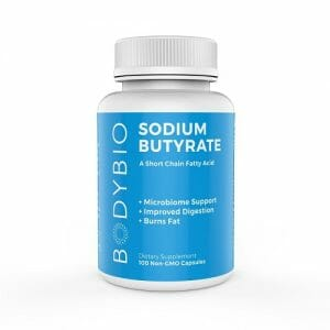 BodyBio Sodium Butyrate, Gut & Liver Health Support, 100 Capsules