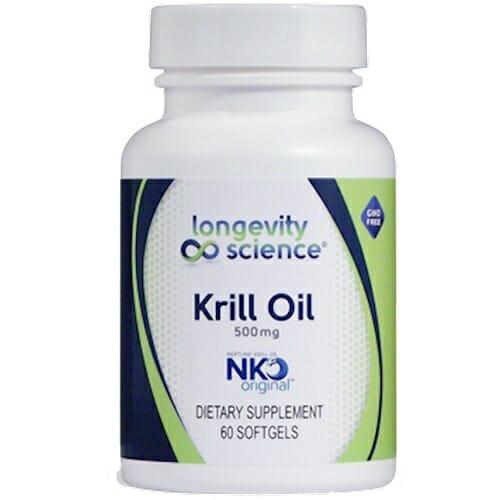 Longevity Science Krill Oil | 500 mg, Omega-3 & Astaxanthin, 60 Softgels
